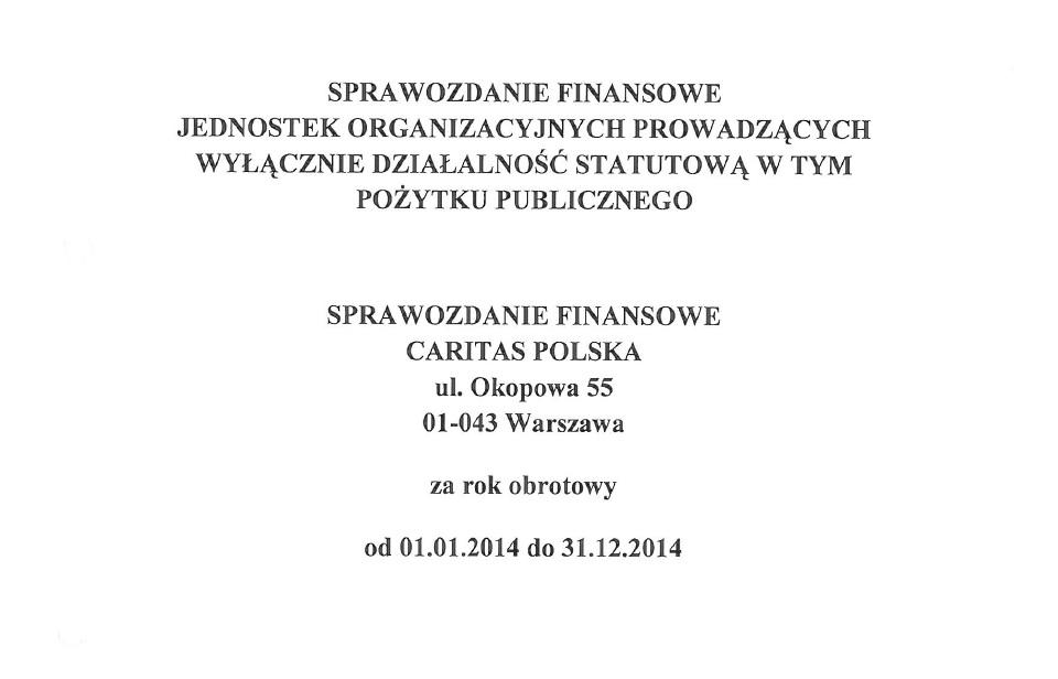 Sprawozdanie finansowe 2014